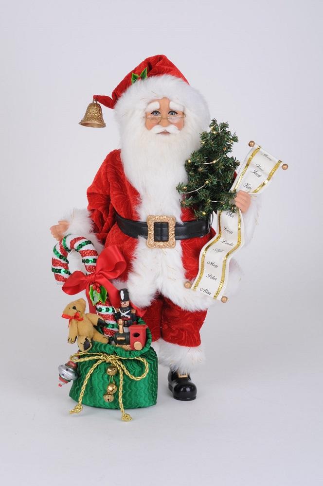Lighted Candy Cane Gift Bag Santa