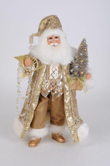 Lighted Gilded Gold Santa