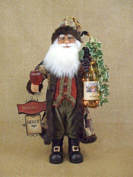 Lighted Wine Santa