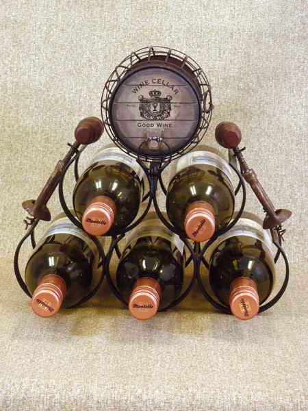 5 Bottle Wine Holder Rack