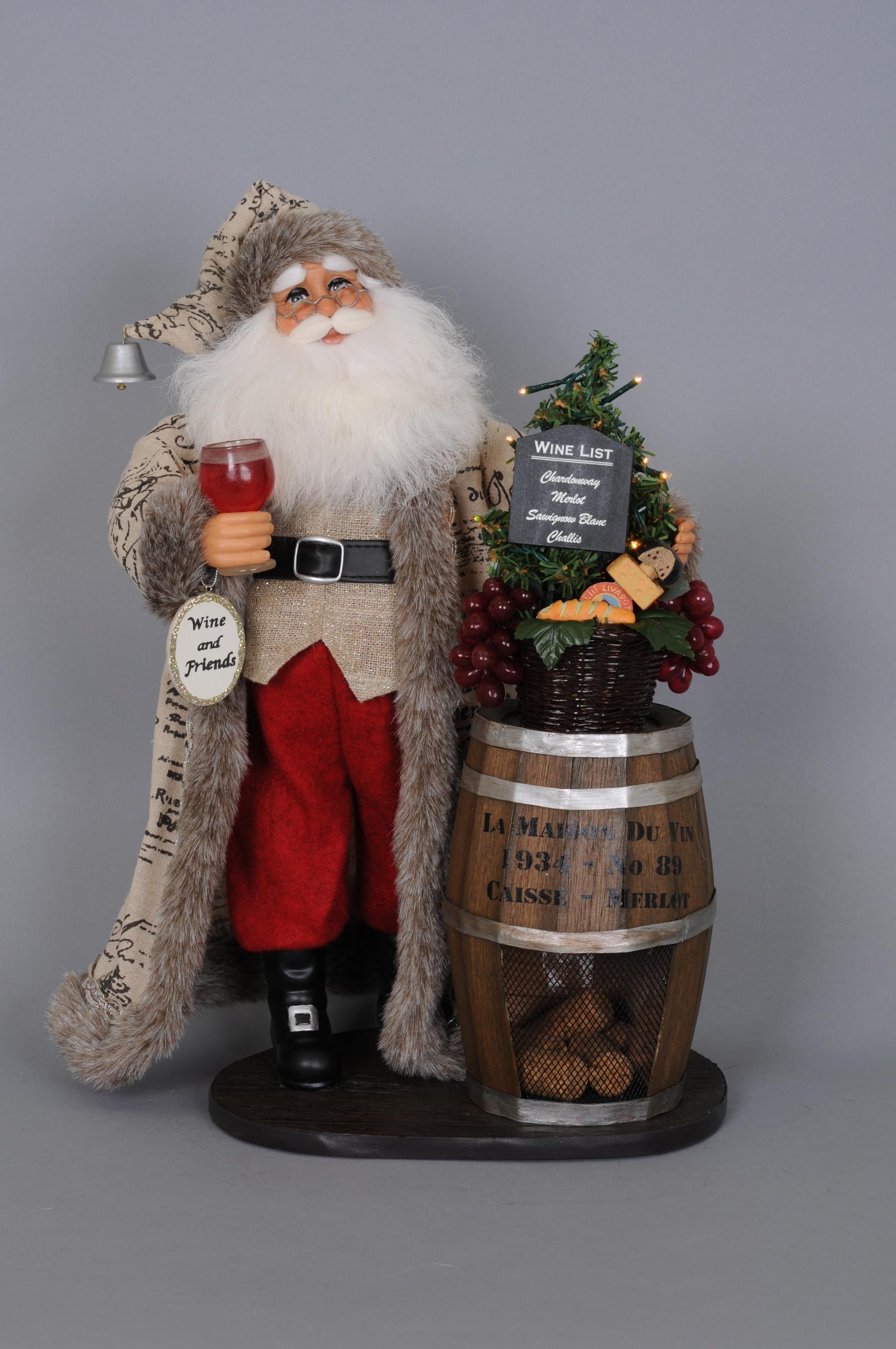 Lighted Wine Barrel Santa
