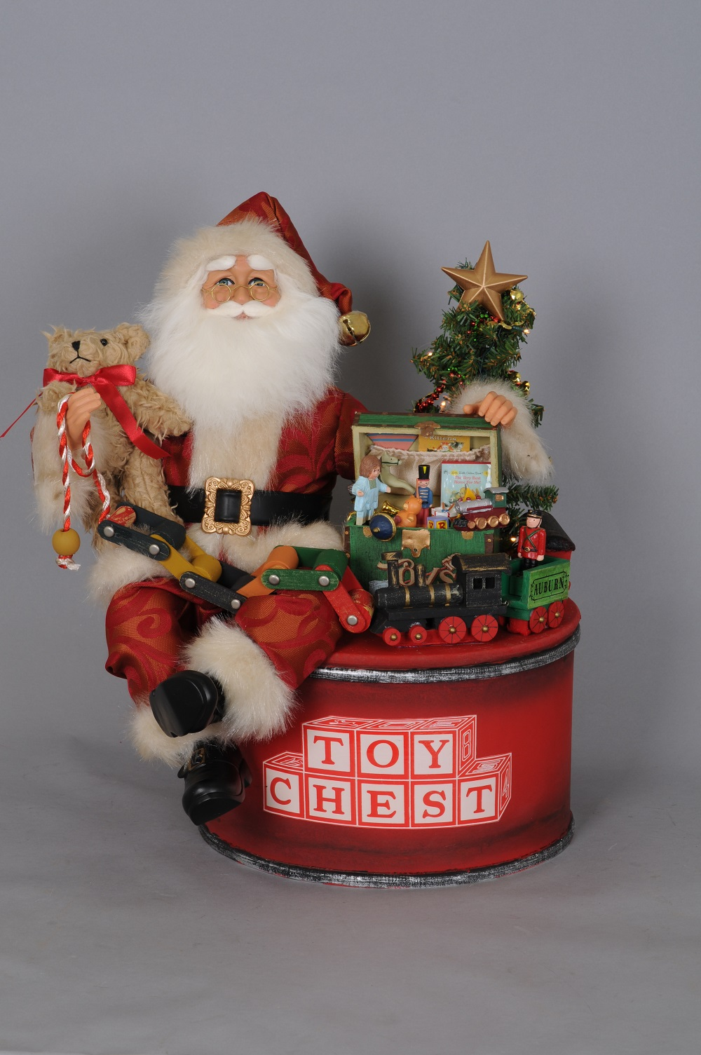Lighted Toy Chest Santa
