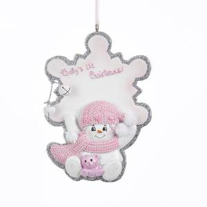 babys 1st christmas snowflake with snow girl personalization