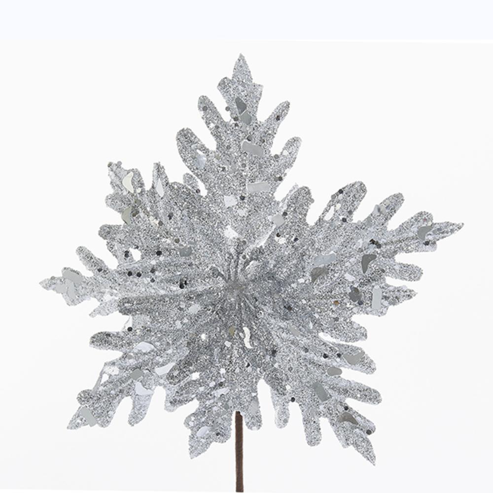 Silver Glittered Pointsettia Pick