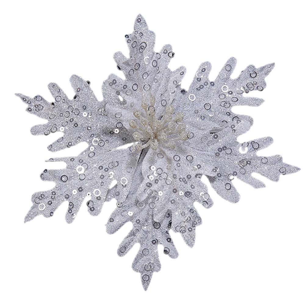 White Glitter Pointsettia Pick