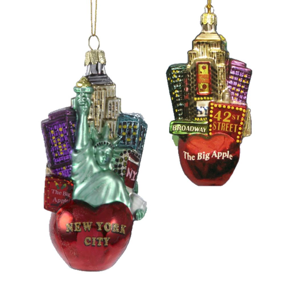 New York Cityscape Glass Ornament