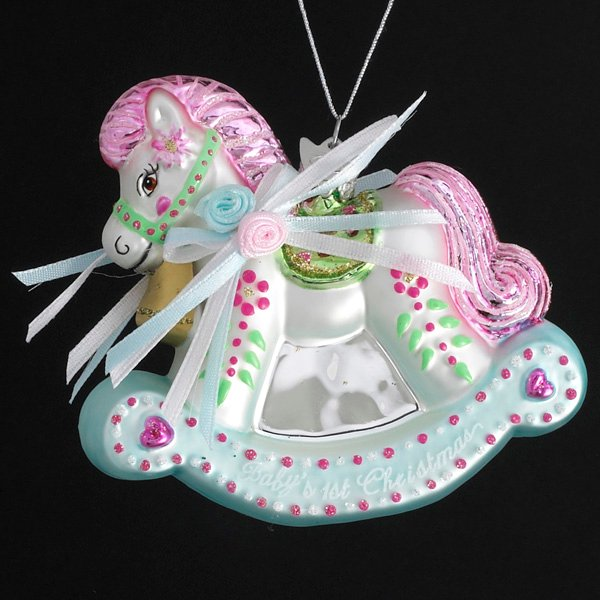 Baby's First Rocking Horse Glass Ornament