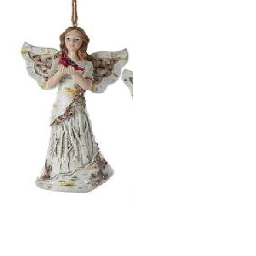 Birch Angel Holding a Cardinal