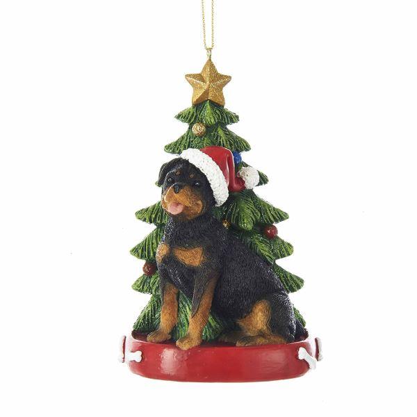 rottweiler with christmas tree ornament - Kurt Adler Christmas