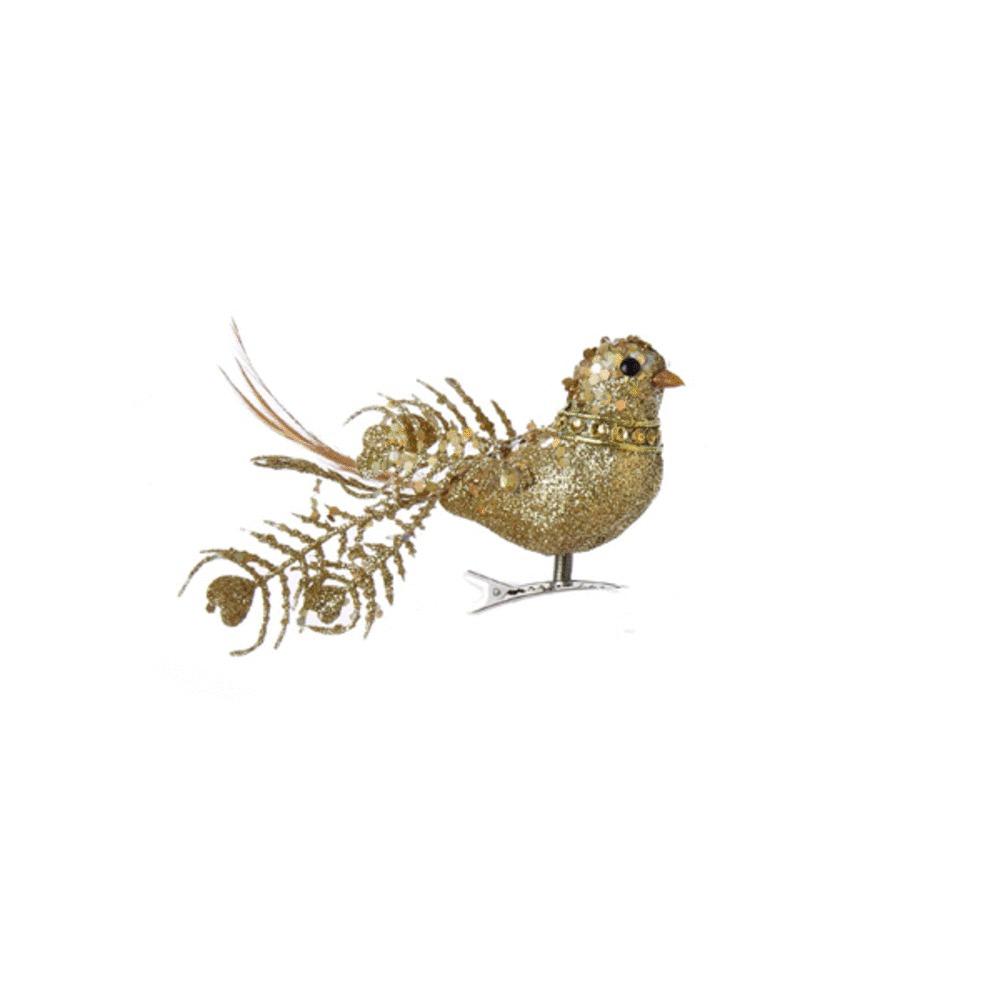 Gold Bead Bird Clip