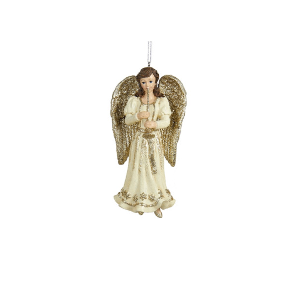 Platinum Glitter Angel With Trumpet Ornament