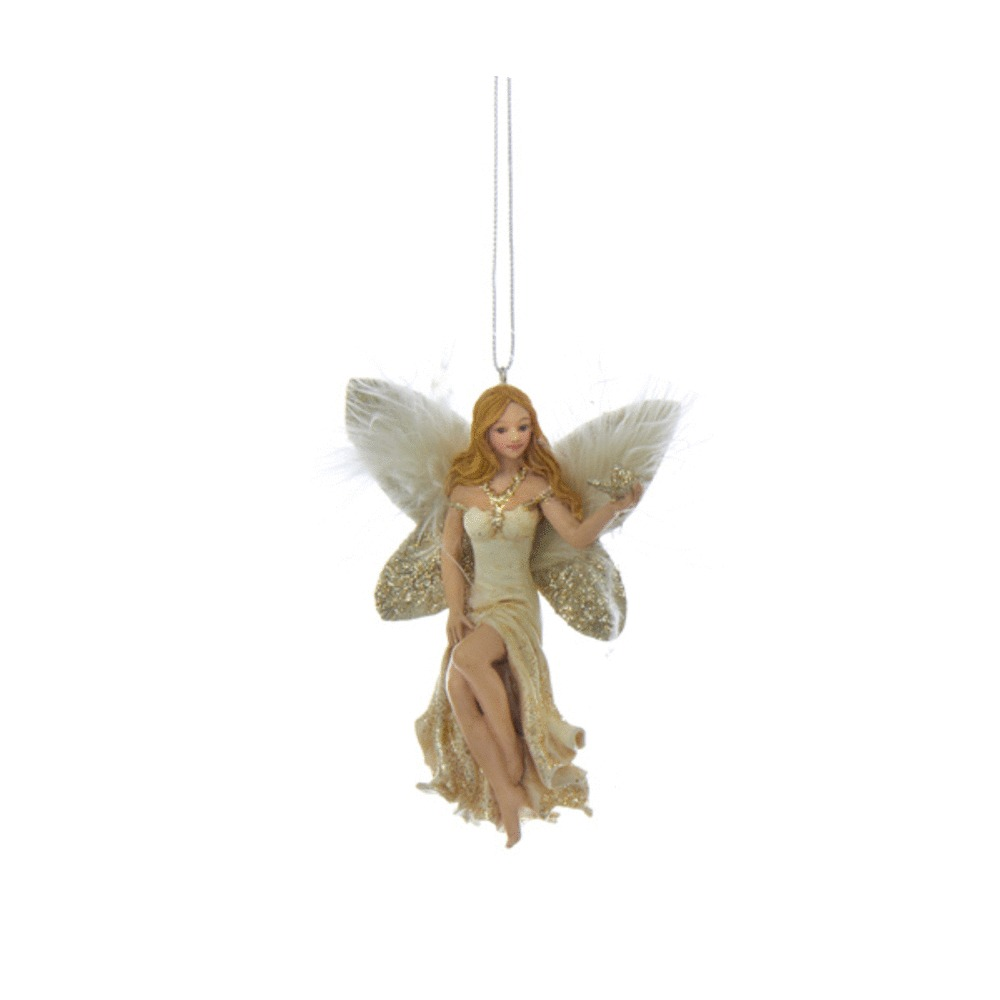 Angel With Butterfly In Left Hand Ornament