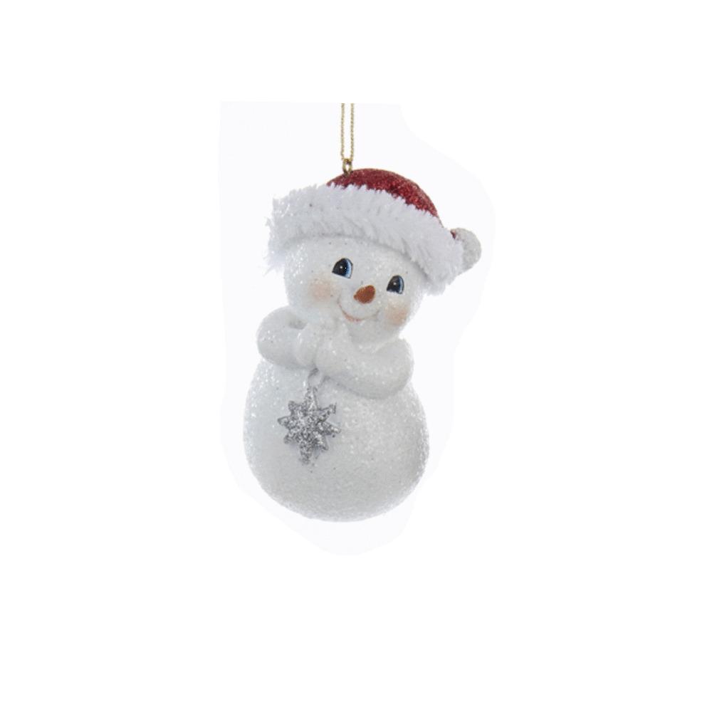 Snowman With Santa Hat Ornament