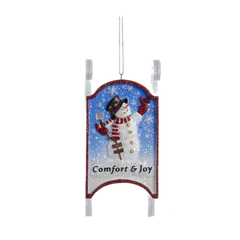 Snowman Sled Ornament