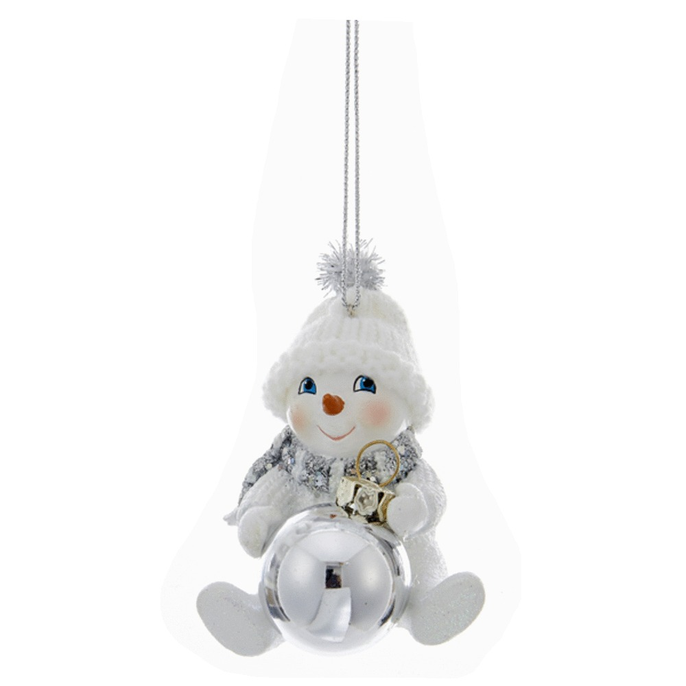 Snowman With Snowball Ornament