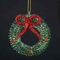 Wreath With Red Bow Ornament