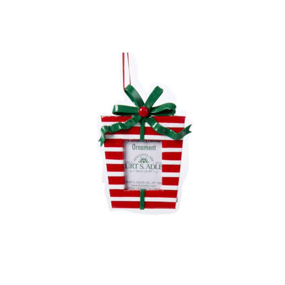 Red And White Gift Box Frame Ornament