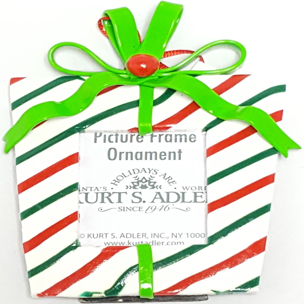 Gift Box Frame Red White And Green Ornament