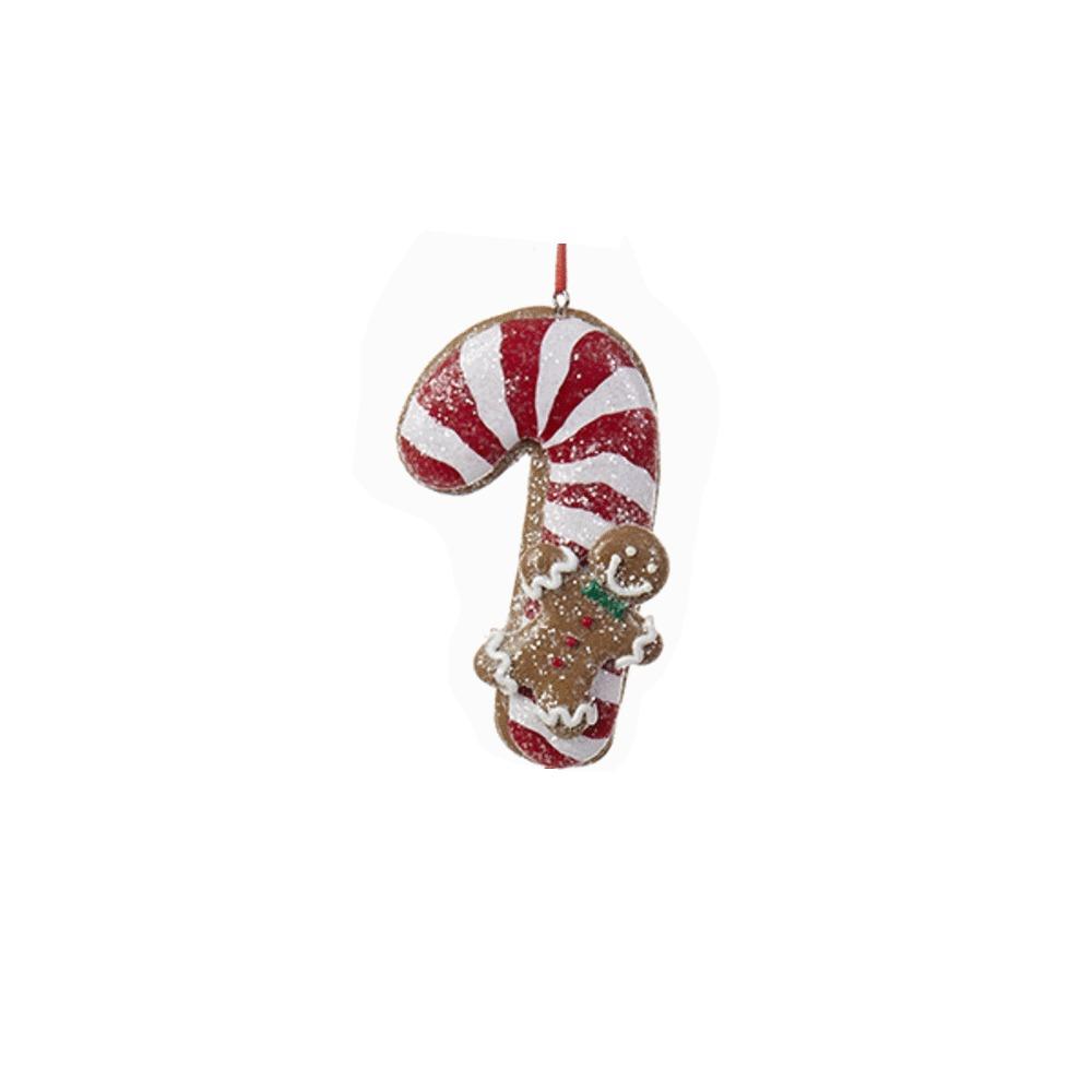 Candycane Gingerbead Ornament