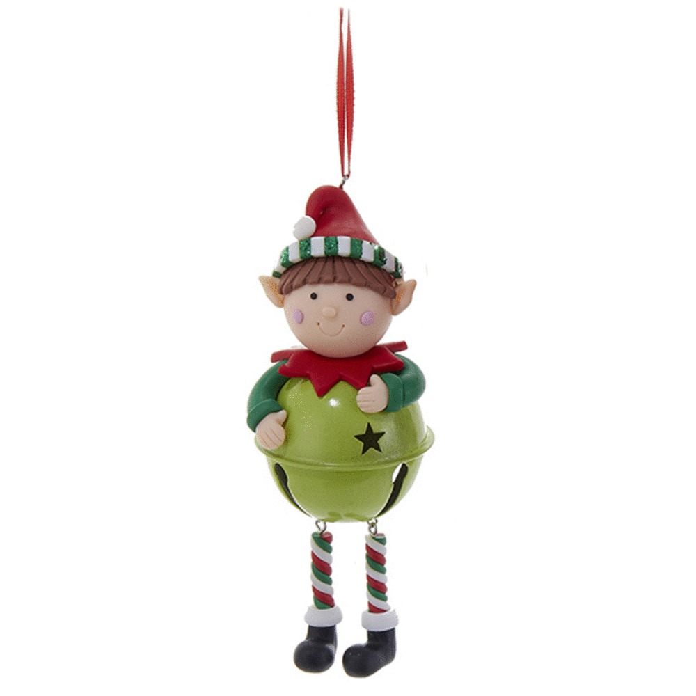 Elf With Lime Green Ball Ornament