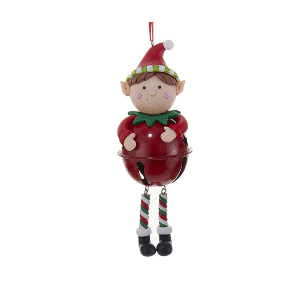 Elf With Red Bell Ornament