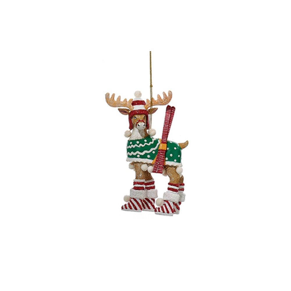 Christmas Deer With Skis Ornament