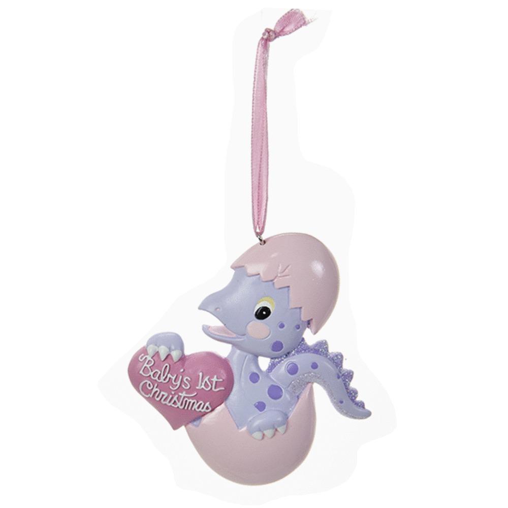 Girl Babys 1st Dino Ornament