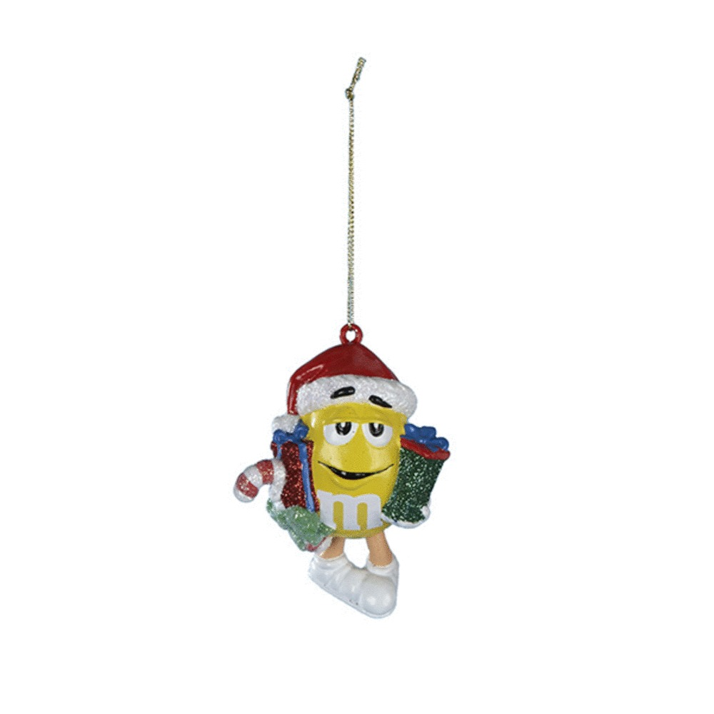 Yellow M&M Santa With Gifts