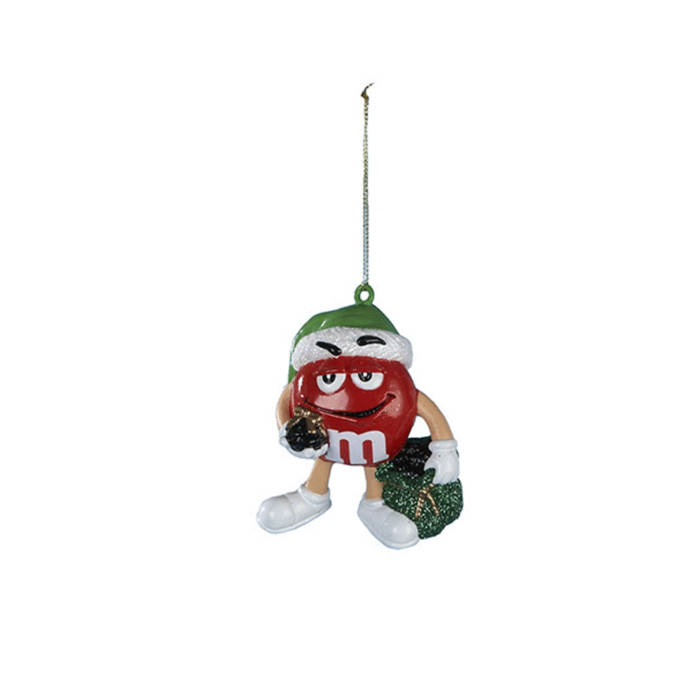 Red M&M Santa With Gift