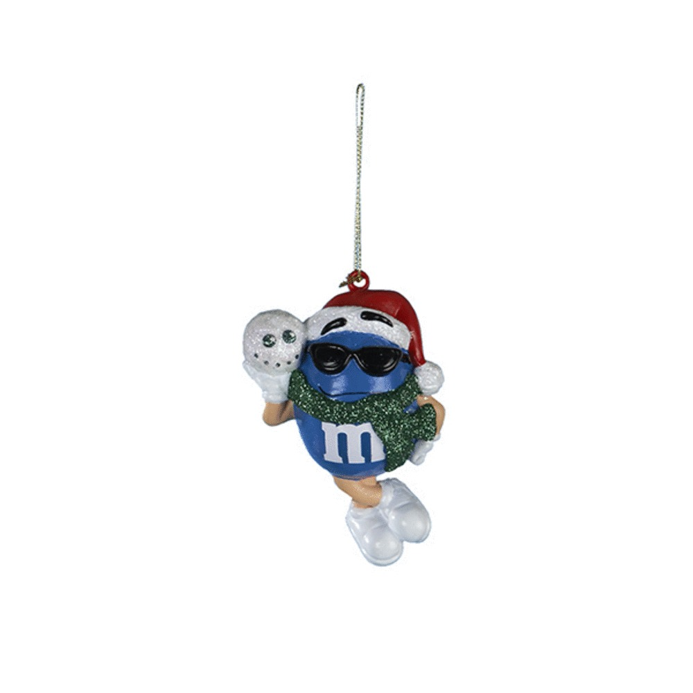 Blue M&M Santa With Gift