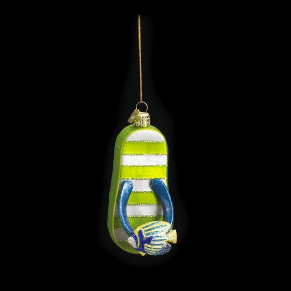 Green Flip Flop Glass Ornament