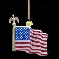 American Flag Glass Ornament