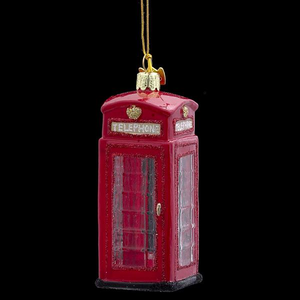British Phonebooth Glass Ornament