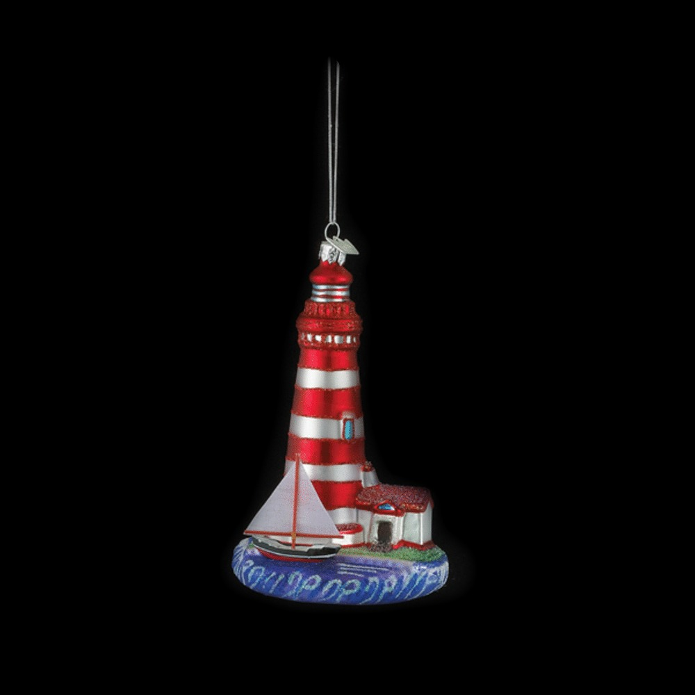 Red Striped Lighthouse Glass Ornament