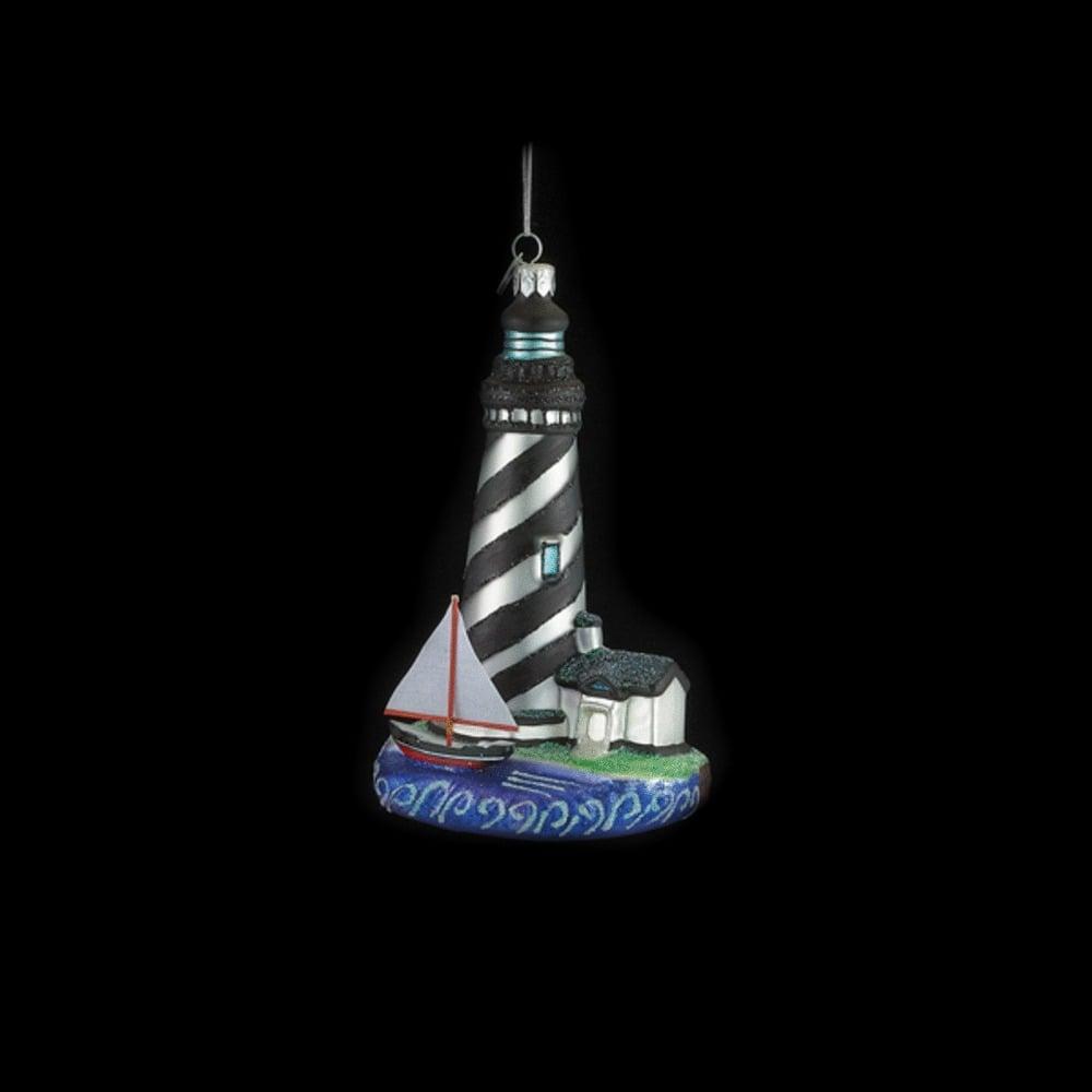 Black Striped Lighthouse Glass Ornament