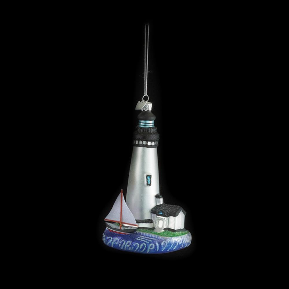 White Lighthouse Glass Ornament