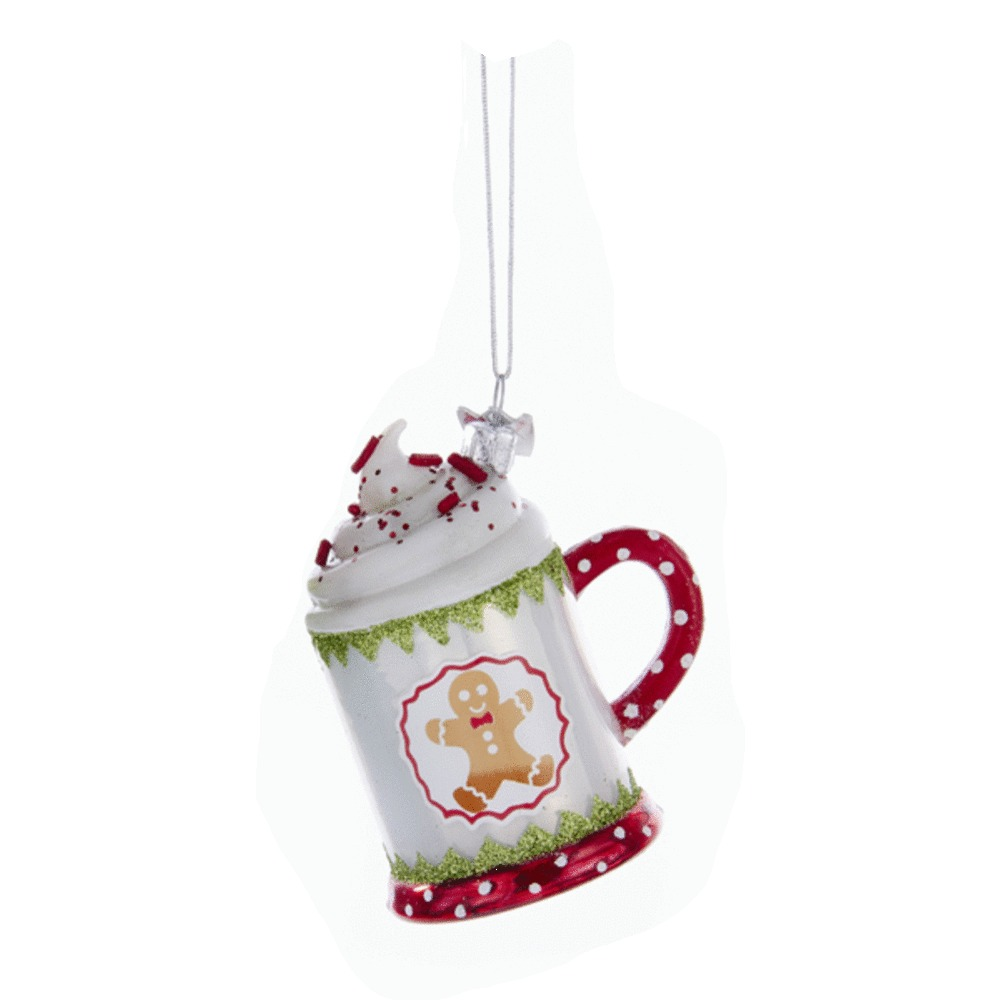 White Hot Chocolate Glass Ornament
