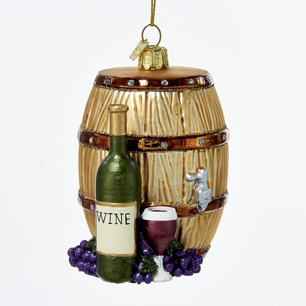 Wine Barrell Glass Ornament