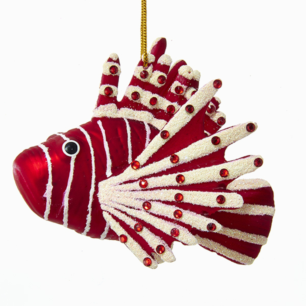 Red Lion Fish Glass Ornament
