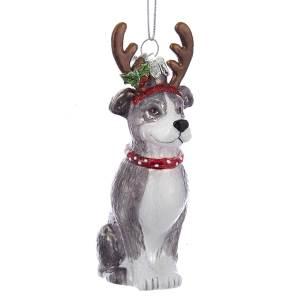 kurt adler nb1261pb pitbull with antlers glass ornament