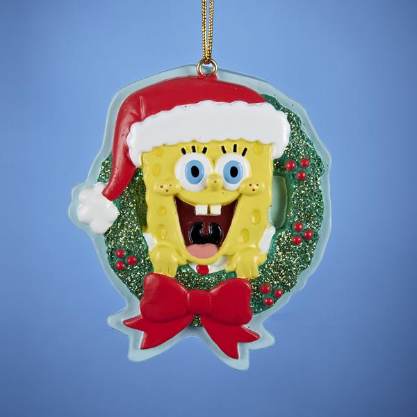 Sponge Bob In Wreath Ornament