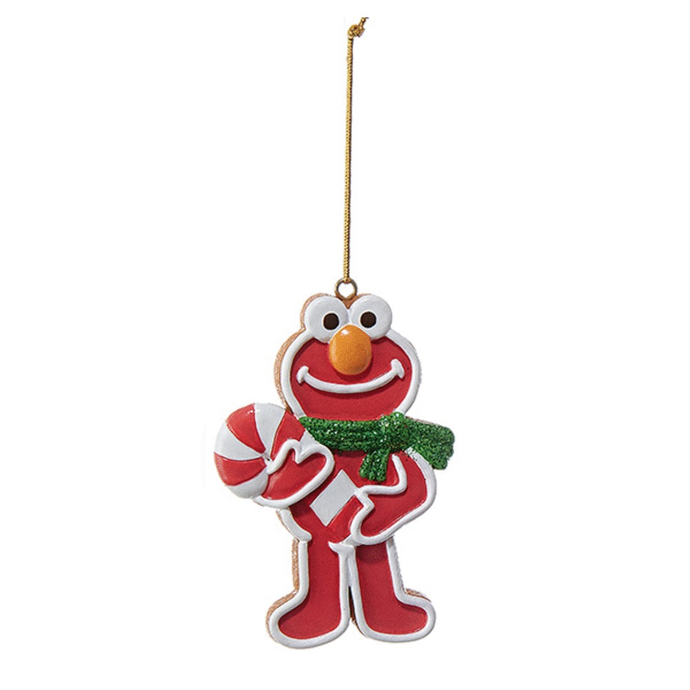 Elmo With Candy Cane Ornament