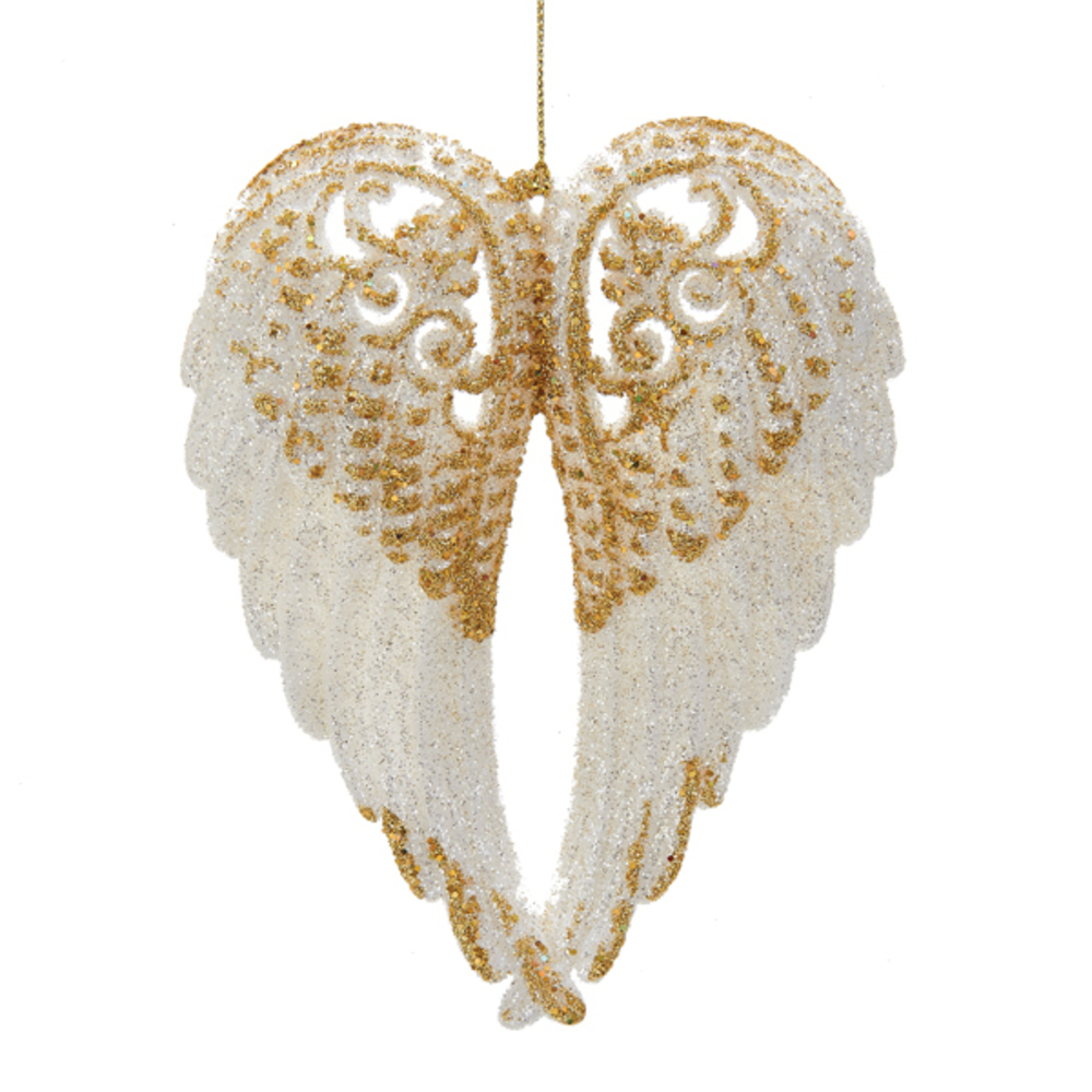 White Wing With Gold Glitter Ornament
