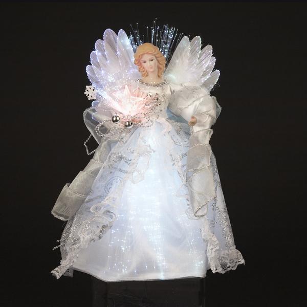 12 Inch Fiberoptic White And Silver Angel Treetopper