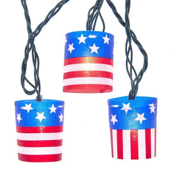 UL 10-Light American Flag Tube Light Set