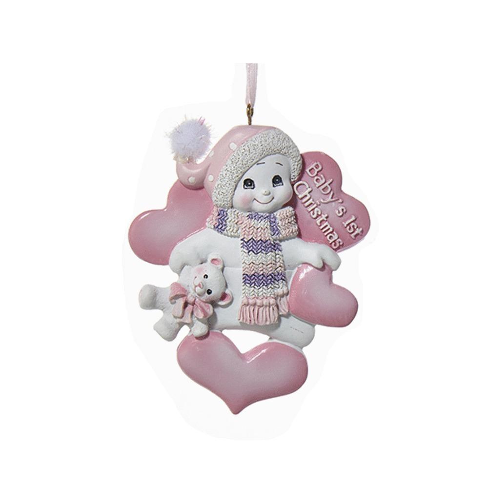Babys First Christmas Snowman Pink