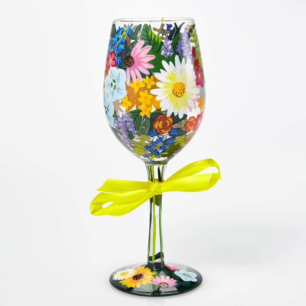 Wildflowers Wine Glass