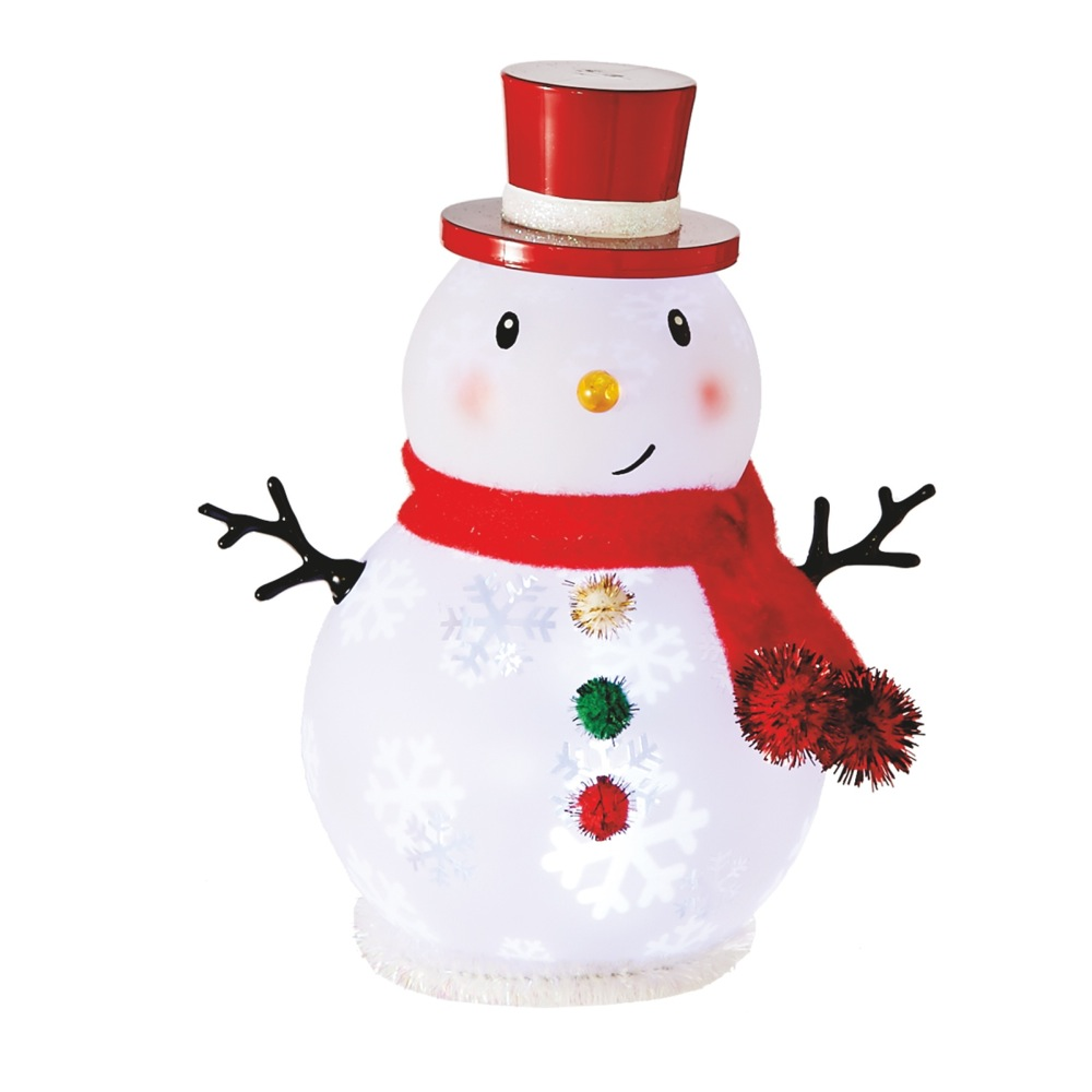 Lighted Small LED Snowman with Snowflakes