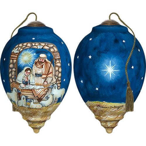 "NeQwa Art Hand Painted Glass Sleep In Heavenly Peace Nativity 5.5/"" Ornament NEW"