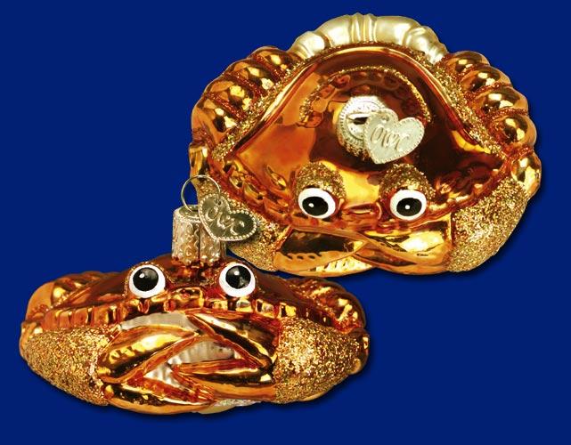 Crab Louie Glass Ornament